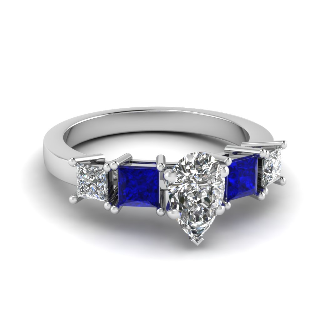 image rings sapphire jewellery shaped coloured gold stone pear diamond ring blue white amp