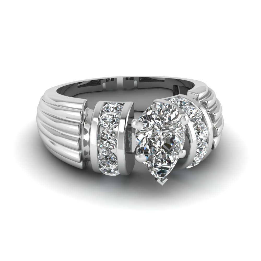 Platinum Pear Shaped Engagement Ring