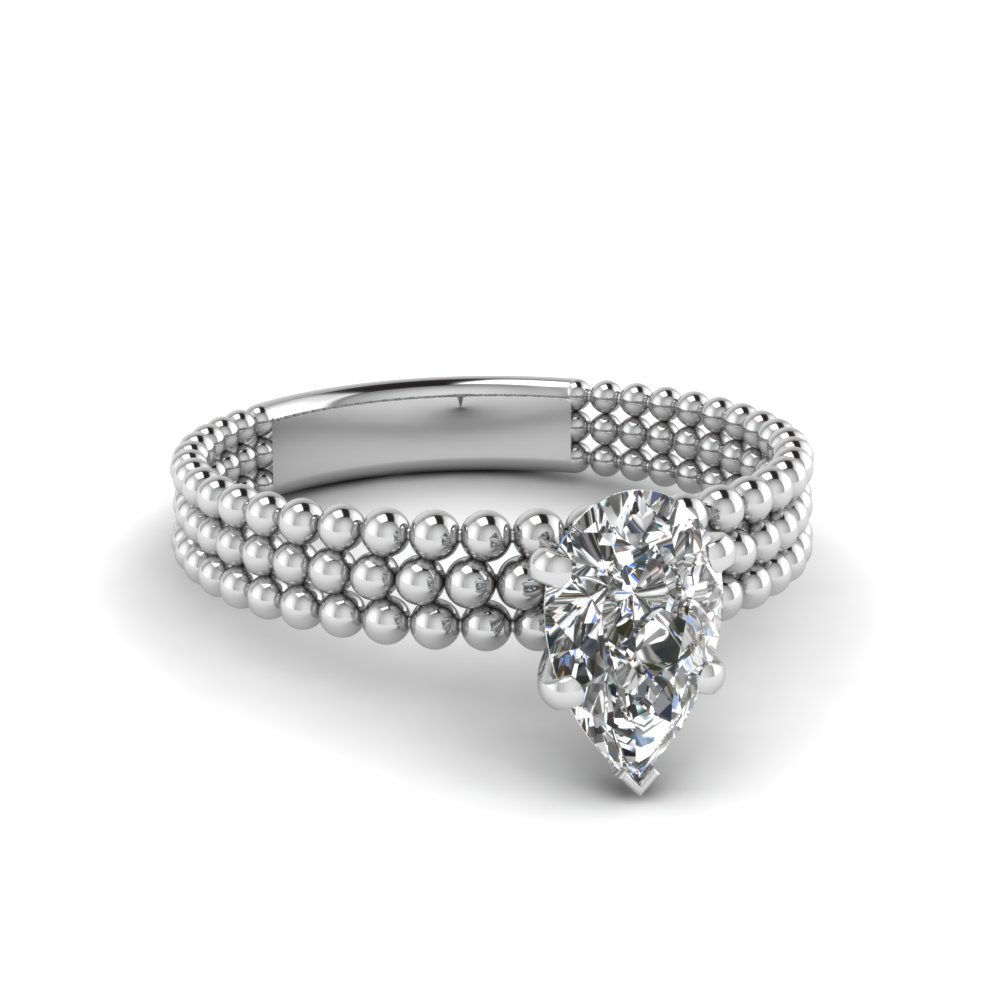 tri row bead pear shaped solitaire engagement ring in FD1160PER NL WG