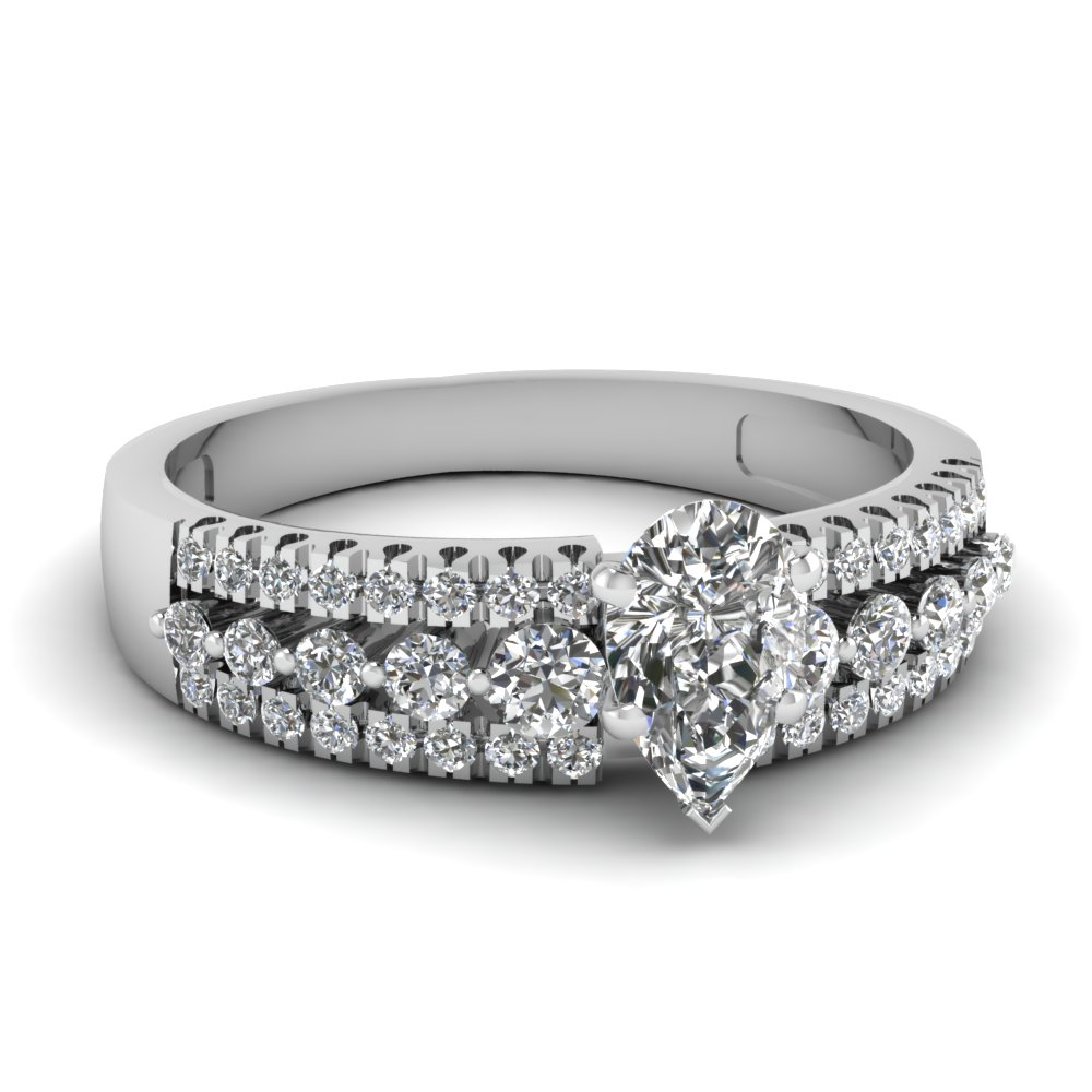 triple row pear diamond engagement ring in FDENS3014PER NL WG