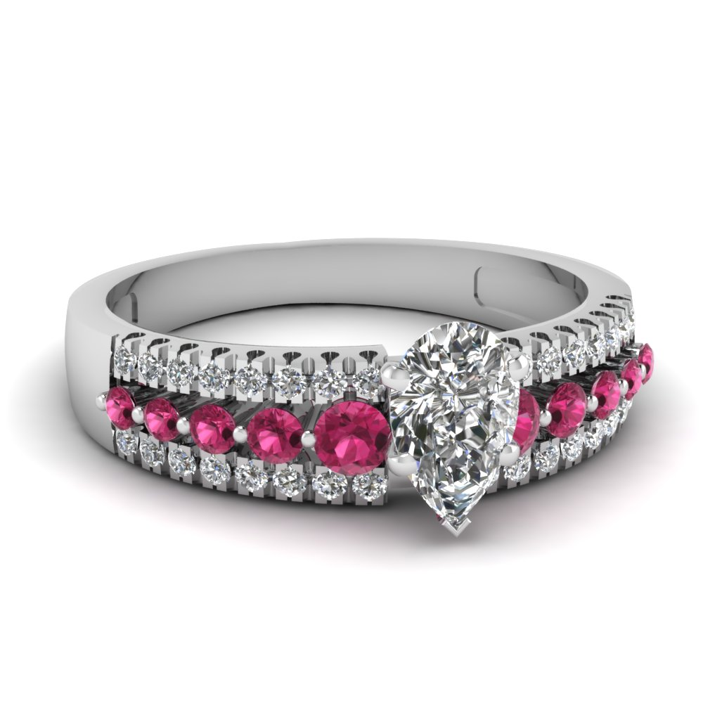Triple Row Pear Shaped Diamond Engagement Ring With Pink