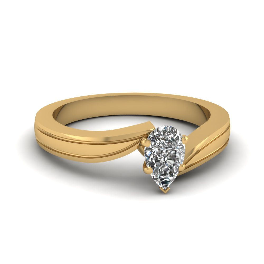 Pear Shaped diamond Solitaire Twisted Ring