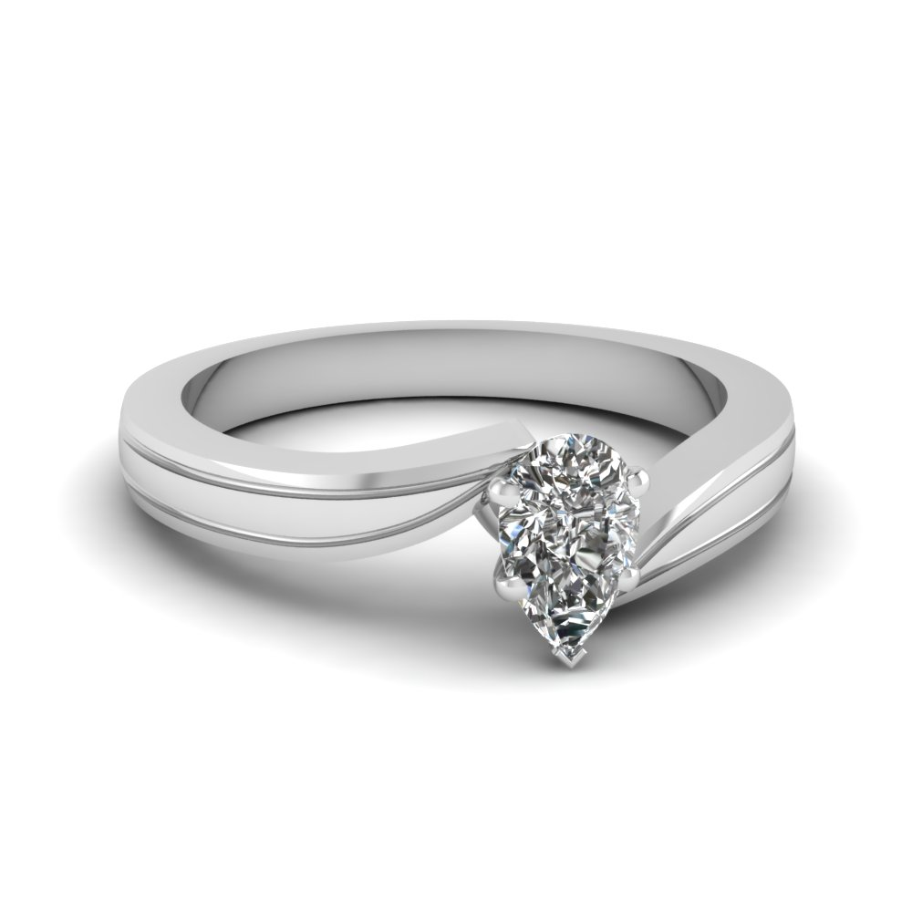 pear shaped twisted solitaire engagement ring in 18K white gold FDENR6677PER NL WG