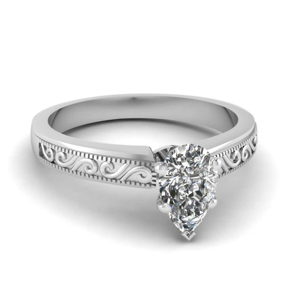 Pear Shaped Diamond Wave Design Solitaire Ring In 18K White Gold