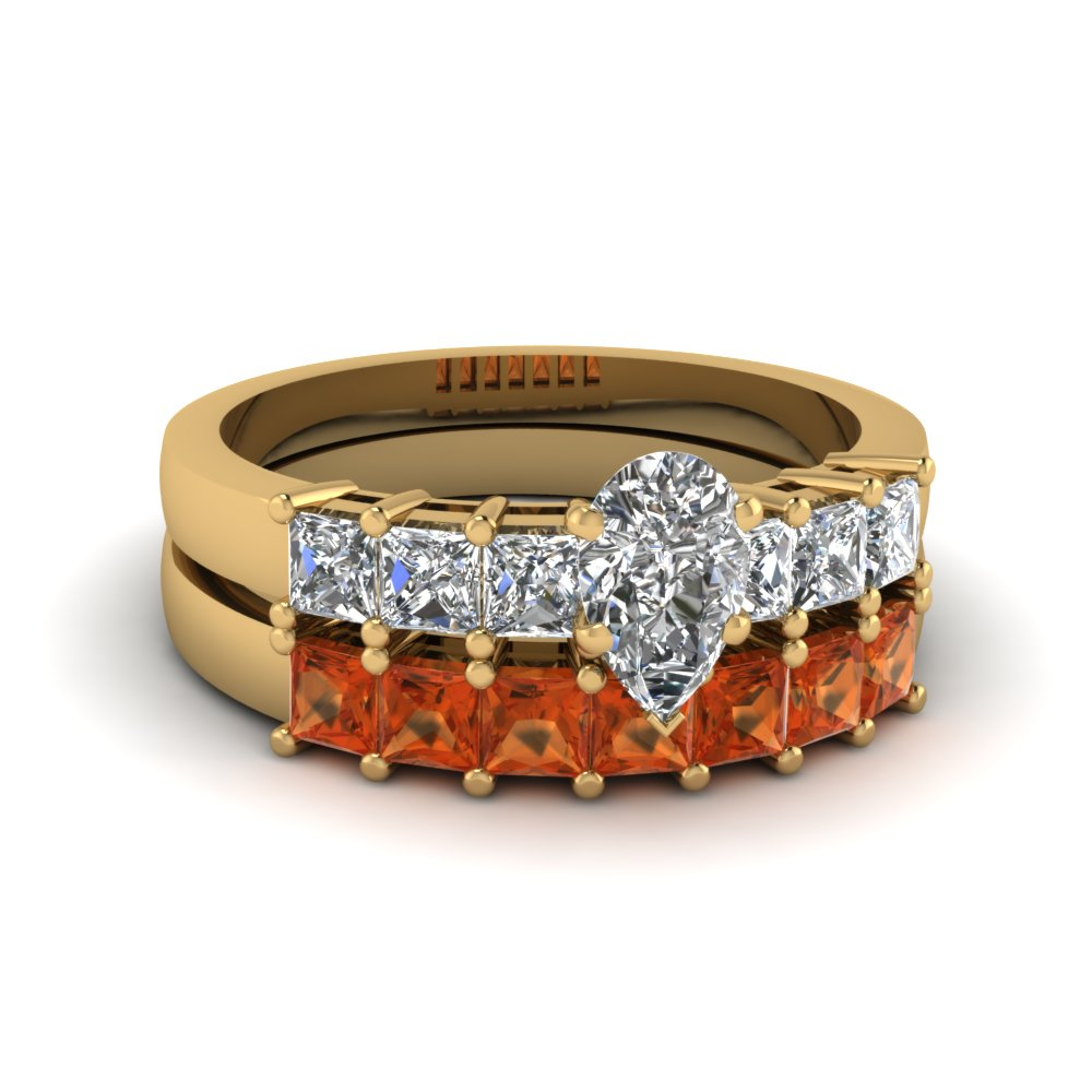 Pear Shaped Orange Sapphire Wedding Sets