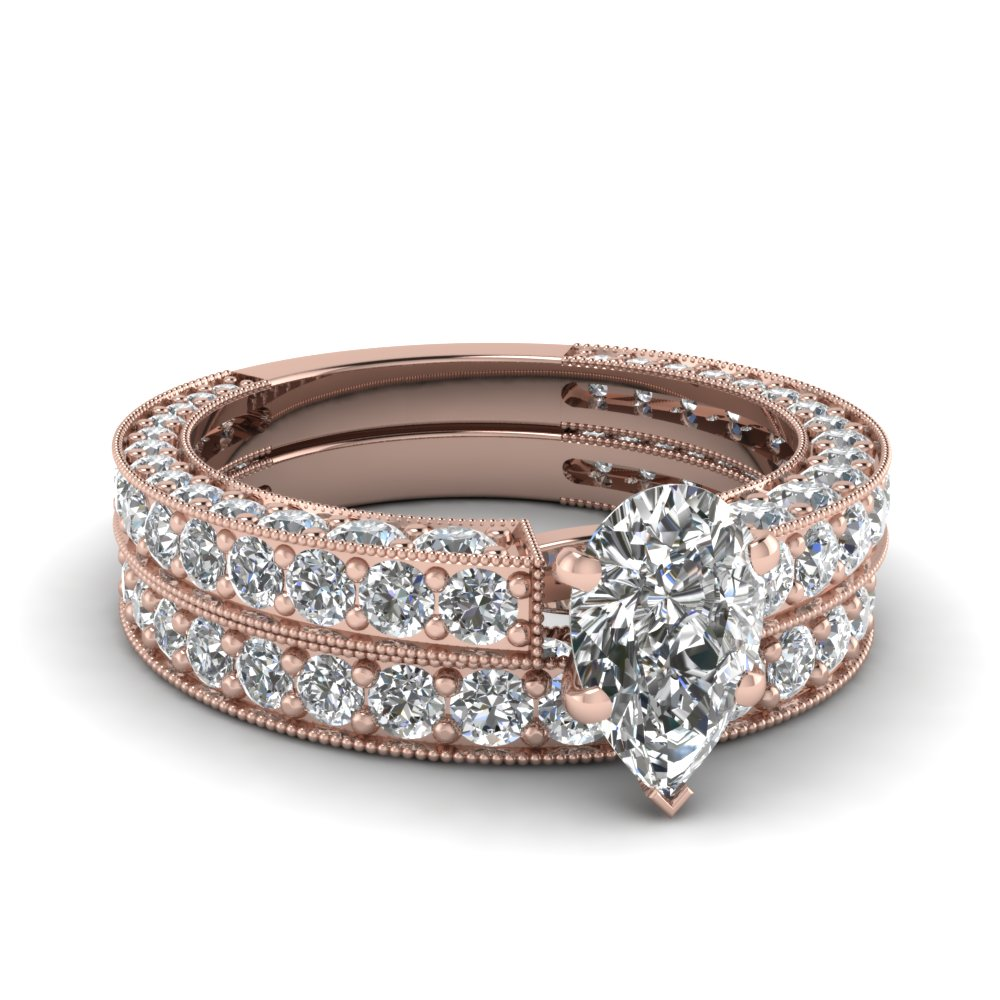 Pear Shaped Diamond Wedding Ring Set In 14K Rose Gold