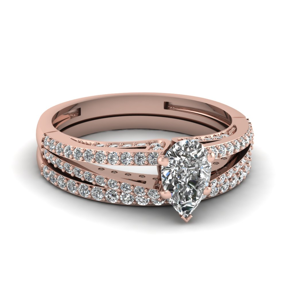 Split 14k Rose Gold Wedding Ring Set