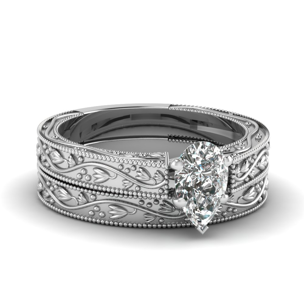 Pear Shaped Diamond Wedding Ring Set In 14K White Gold