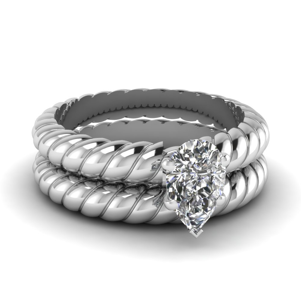 pear shaped rope solitaire wedding ring set in FDENS1793PE NL WG