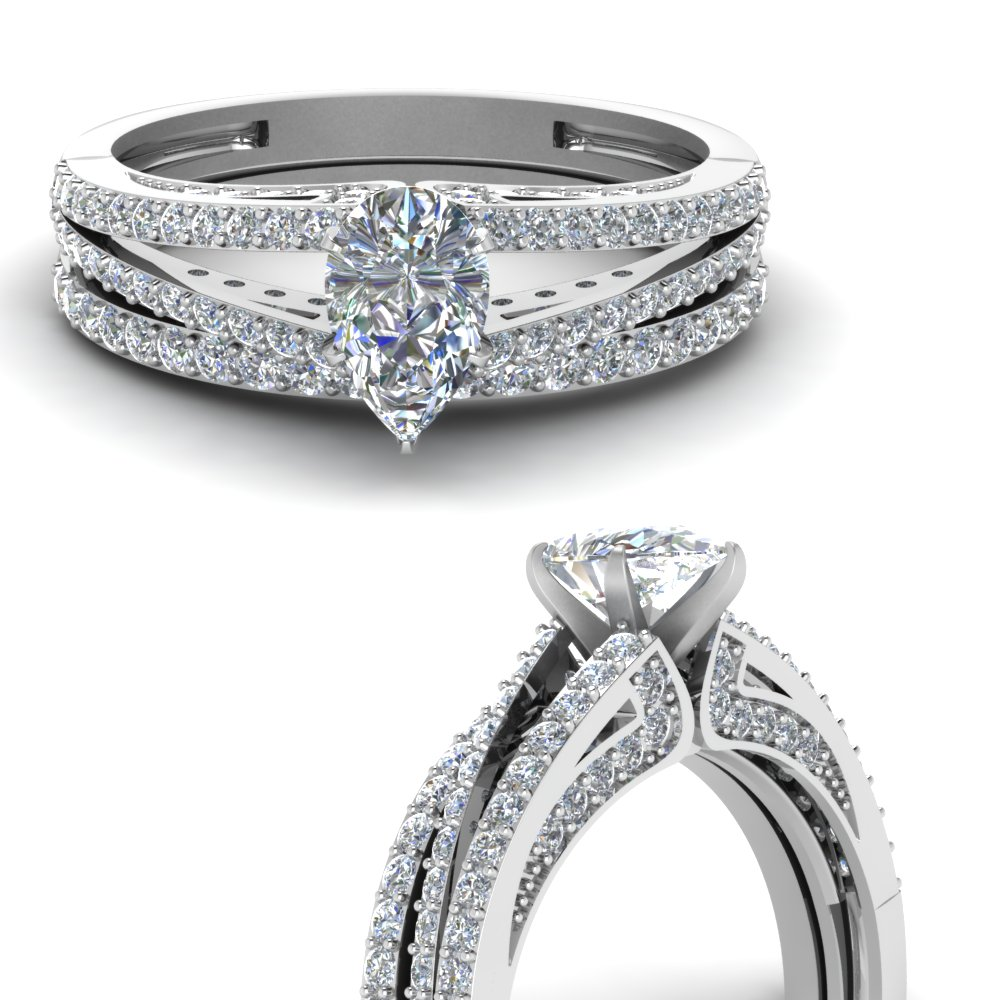 b62fbfcded5039 Pear Shaped Diamond Wedding Ring Set In 14K White Gold | Fascinating ...