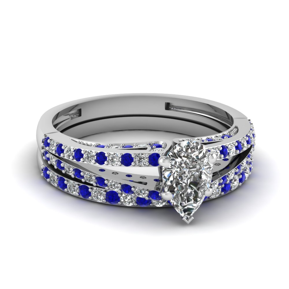 split pear diamond wedding ring set with sapphire in FDENS3131PEGSABL NL WG