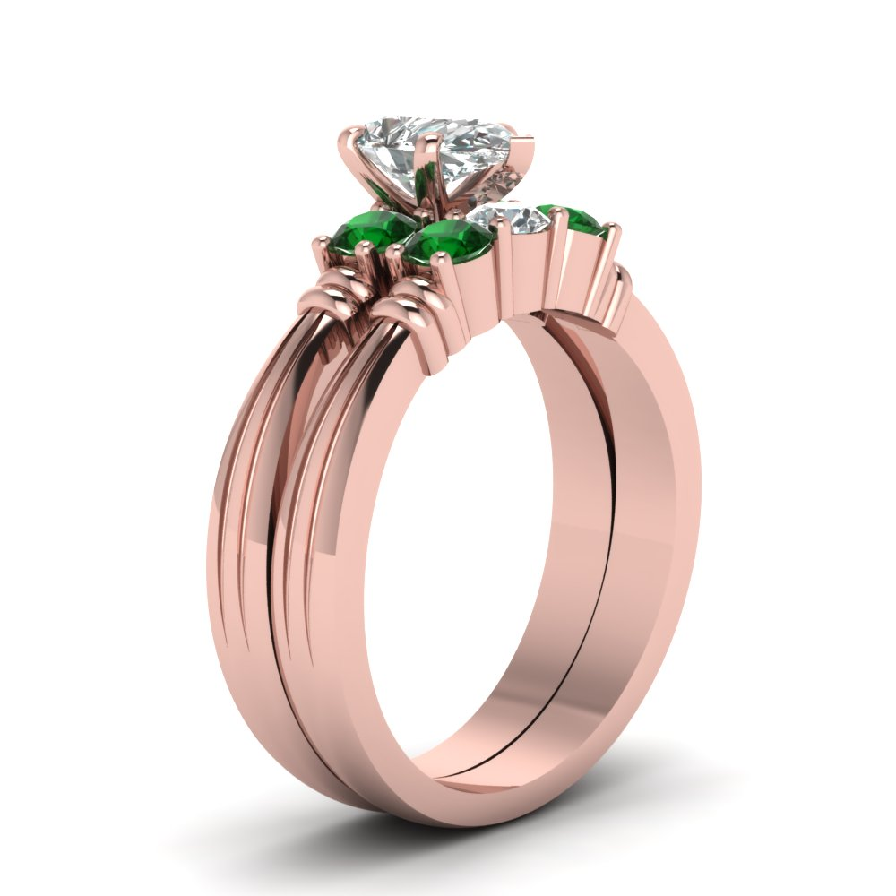 Pear Shaped Diamond Wedding Ring Set With Green Emerald In 14K Rose ...