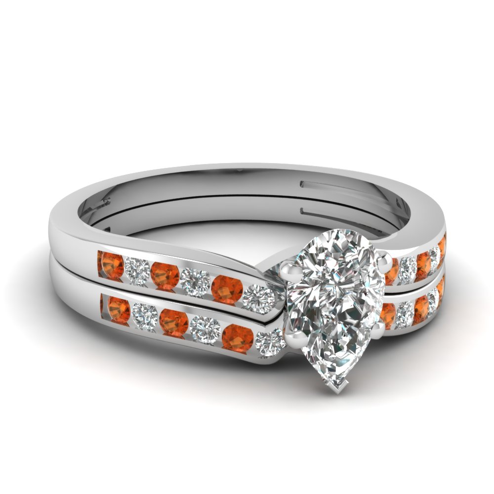 pear shaped diamond channel bridal set with orange sapphire in FDENS3092PEGSAOR NL WG.jpg