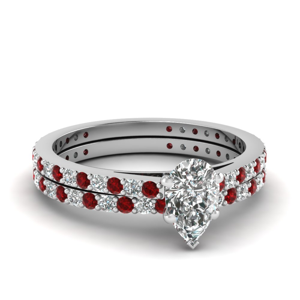 pear shaped petite diamond wedding ring set with ruby in FDENS1425PEGRUDR NL WG