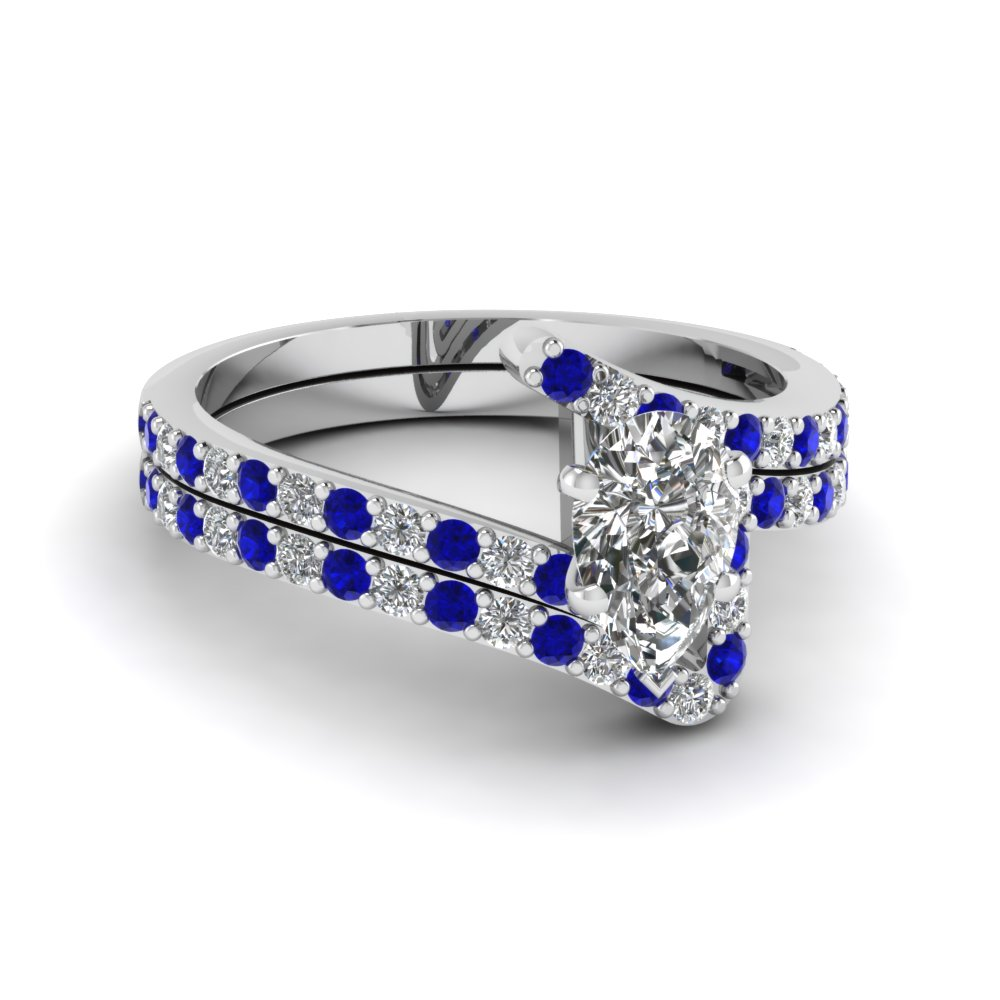 bypass pear shaped diamond bridal ring set with sapphire in FDENS3007PEGSABL NL WG