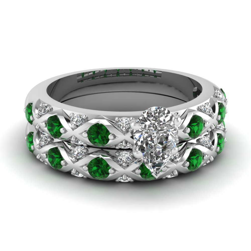 Pear Shaped Diamond Wedding Ring Sets With Green Emerald In 14K White Gold
