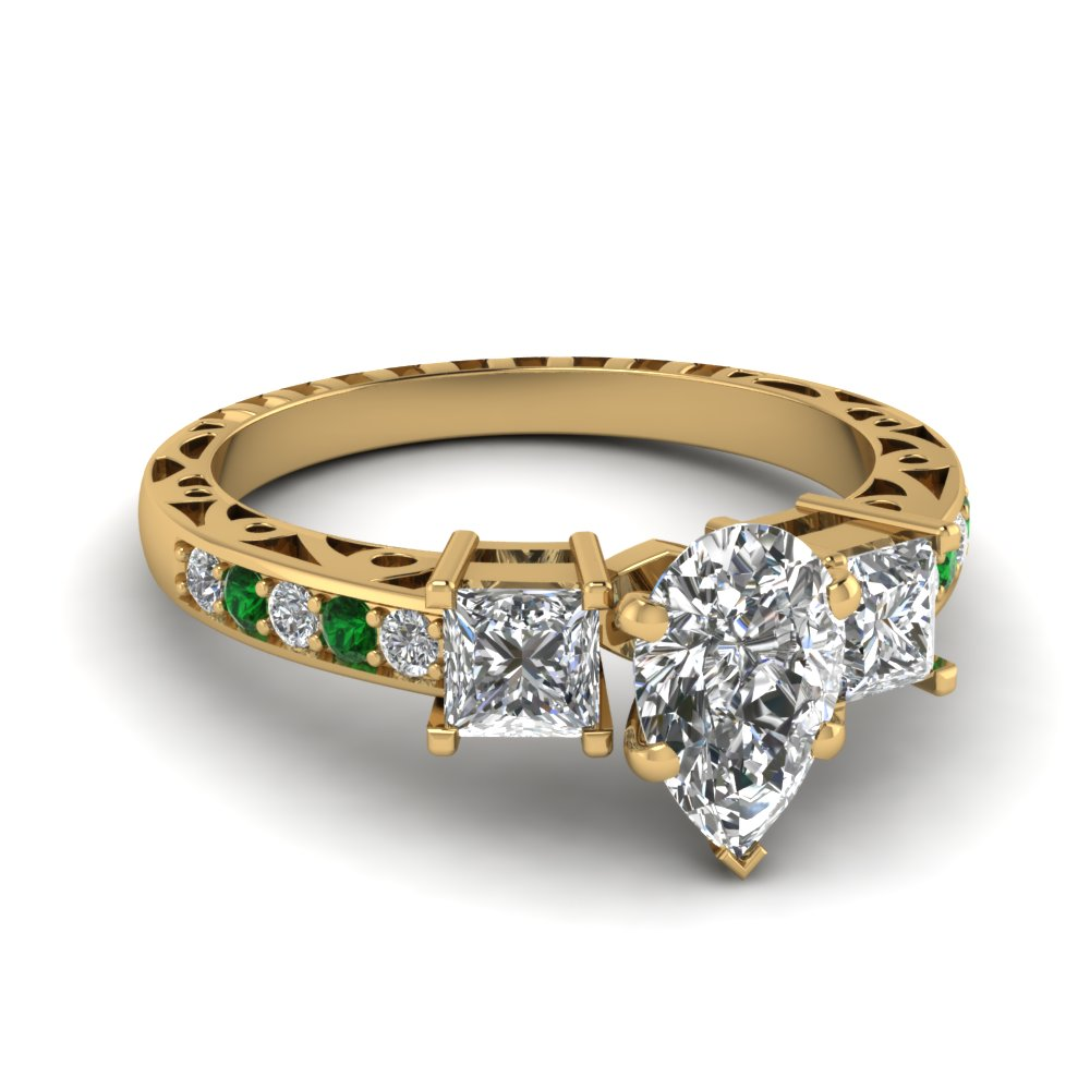 pear shaped vintage 3 stone diamond engagement ring with emerald in FDENR1816PERGEMGR NL YG.jpg