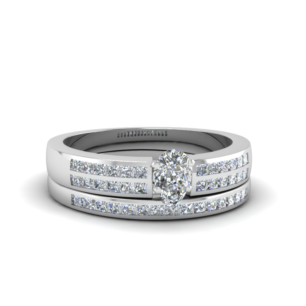 pear shaped double row channel diamond wide bridal set in 950 platinum FDENS3122PE NL WG