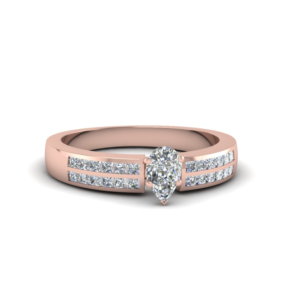 pear shaped double row channel diamond wide ring in 14K rose gold FDENS3122PER NL RG