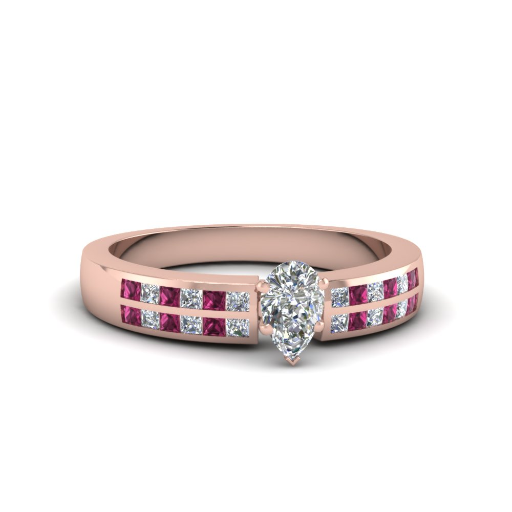 Pink Gold Princess Sapphire Engagement Ring