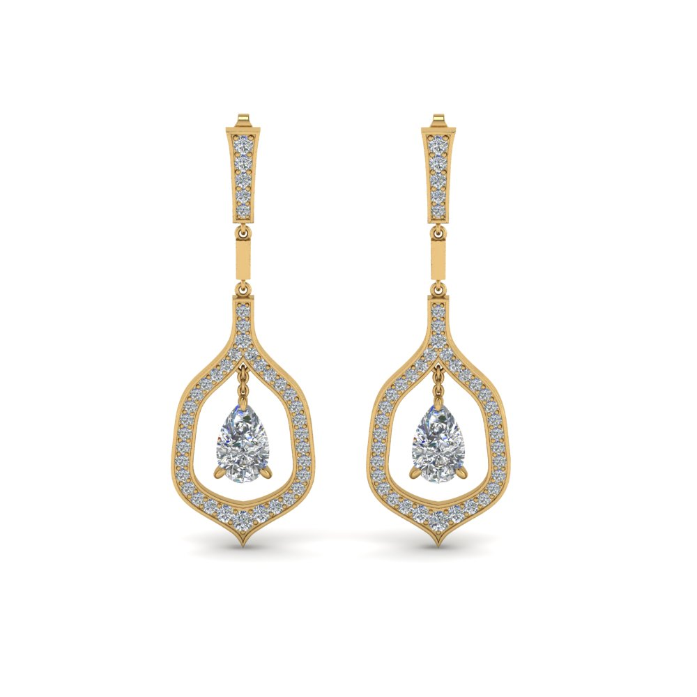 pear shaped drop diamond earring for women in 14K yellow gold FDEAR8441PEANGLE1 NL YG
