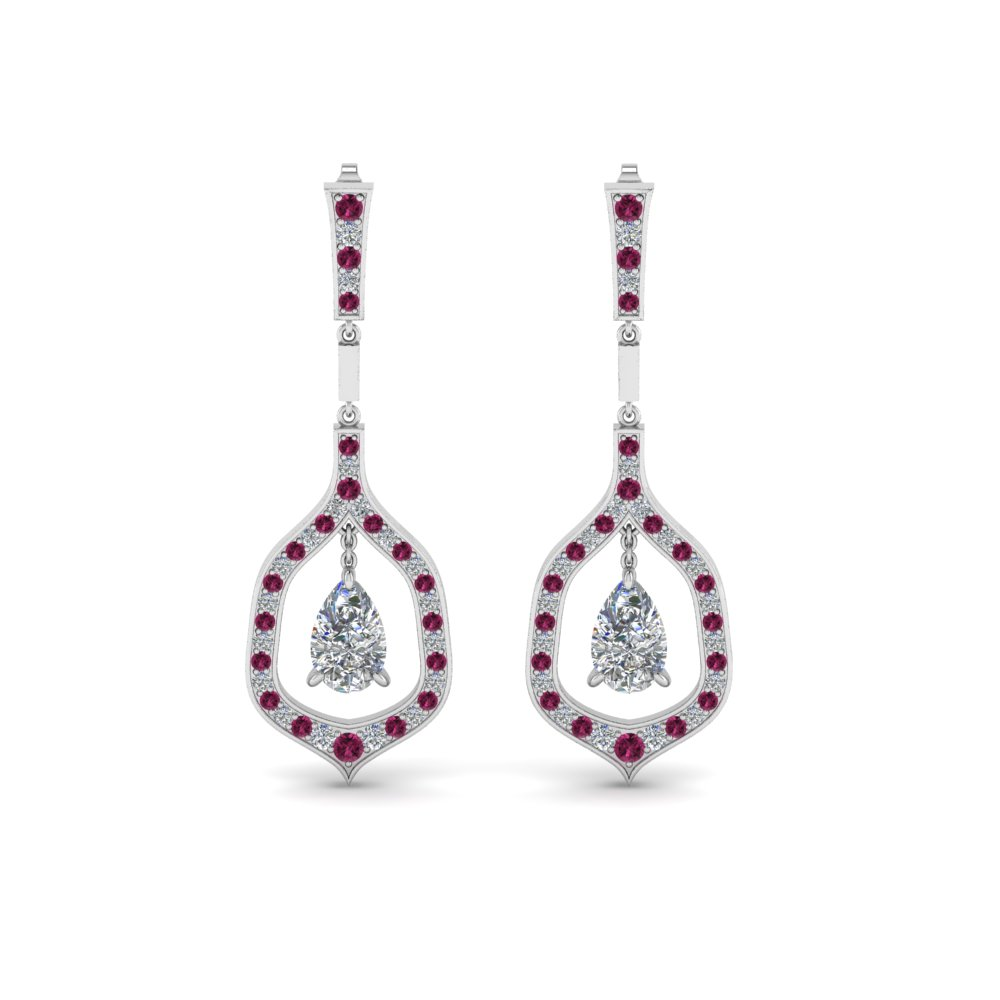 6129243f0 Pear Shaped Drop Diamond Earring For Women With Pink Sapphire In 14K ...