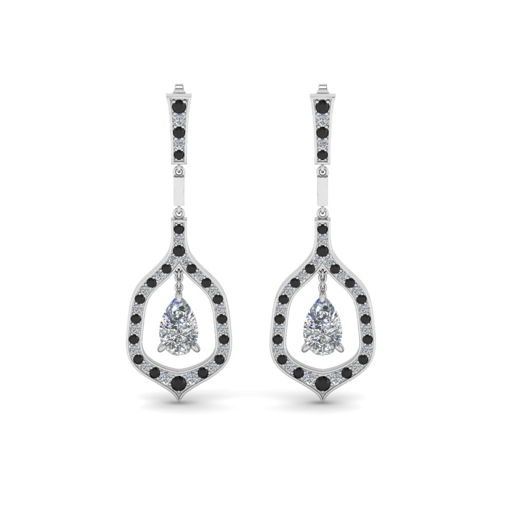 Black Diamond Pear Drop Earring