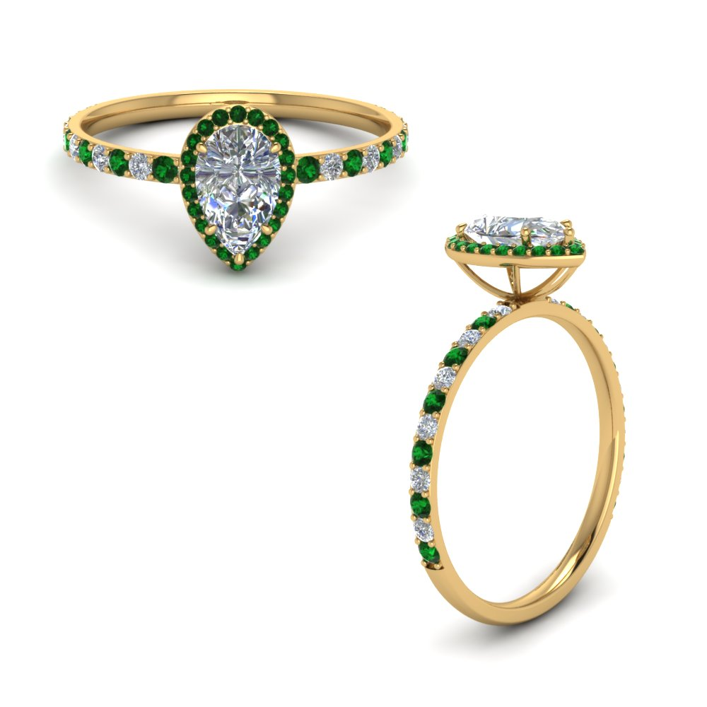 pear shaped emerald halo diamond engagement ring in FD8513PERGEMGRANGLE1 NL YG