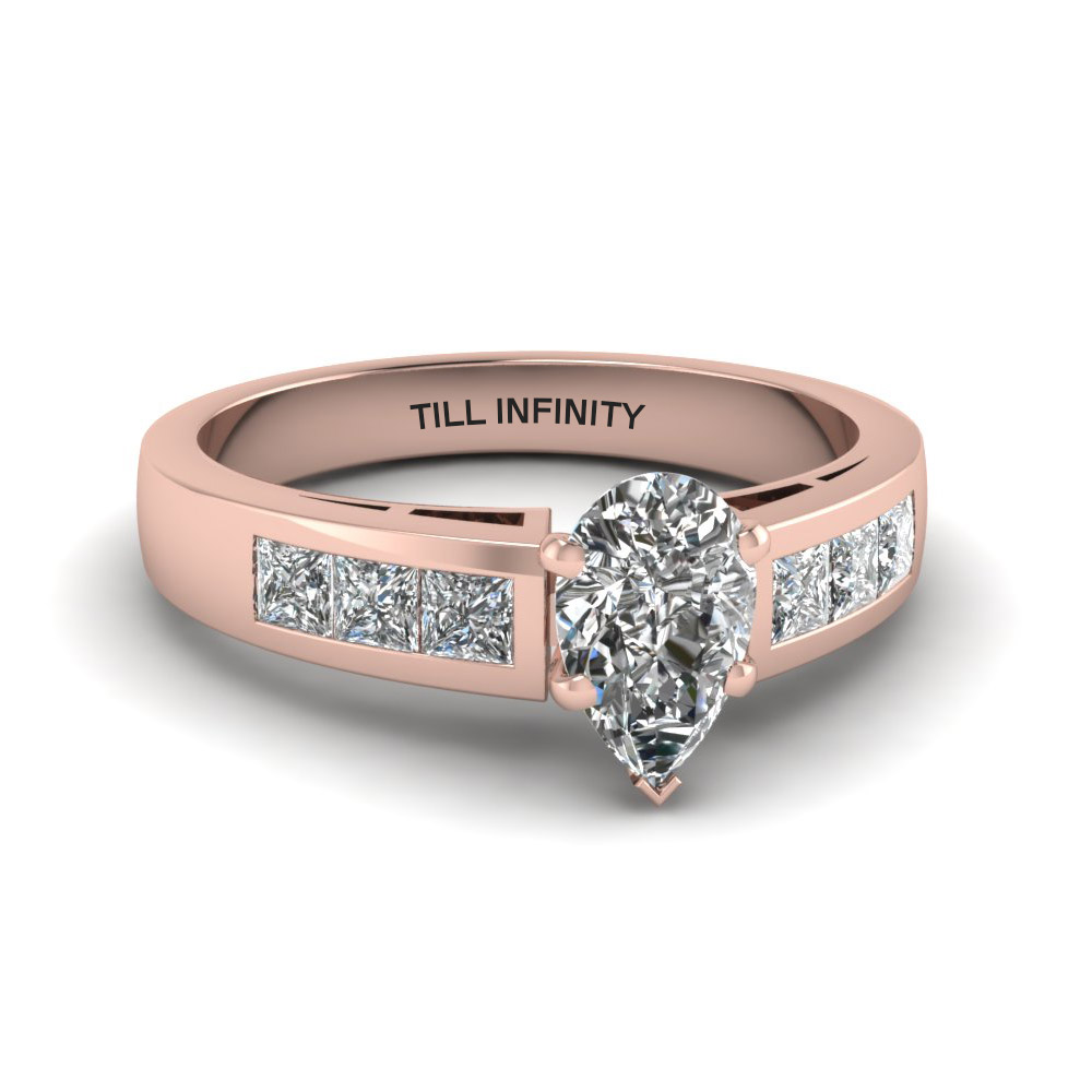 pear shaped engraved channel princess accent diamond engagement ring in 14K rose gold FDENS167PER NL RG EG