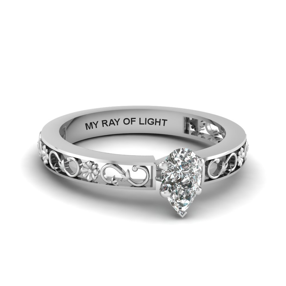 pear shaped engraved solitaire diamond engagement ring in  14K white gold FDENS3286PER NL WG