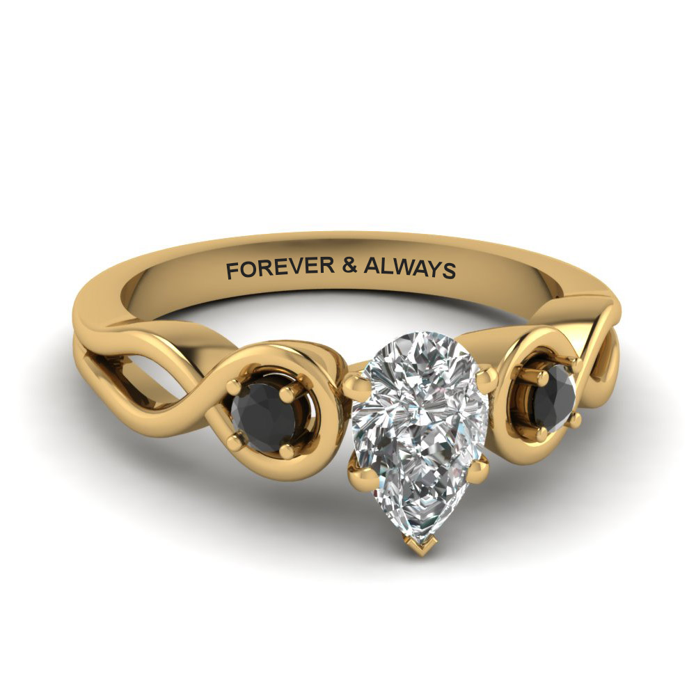 Pear Shaped & Black Diamond 3 Stone Ring