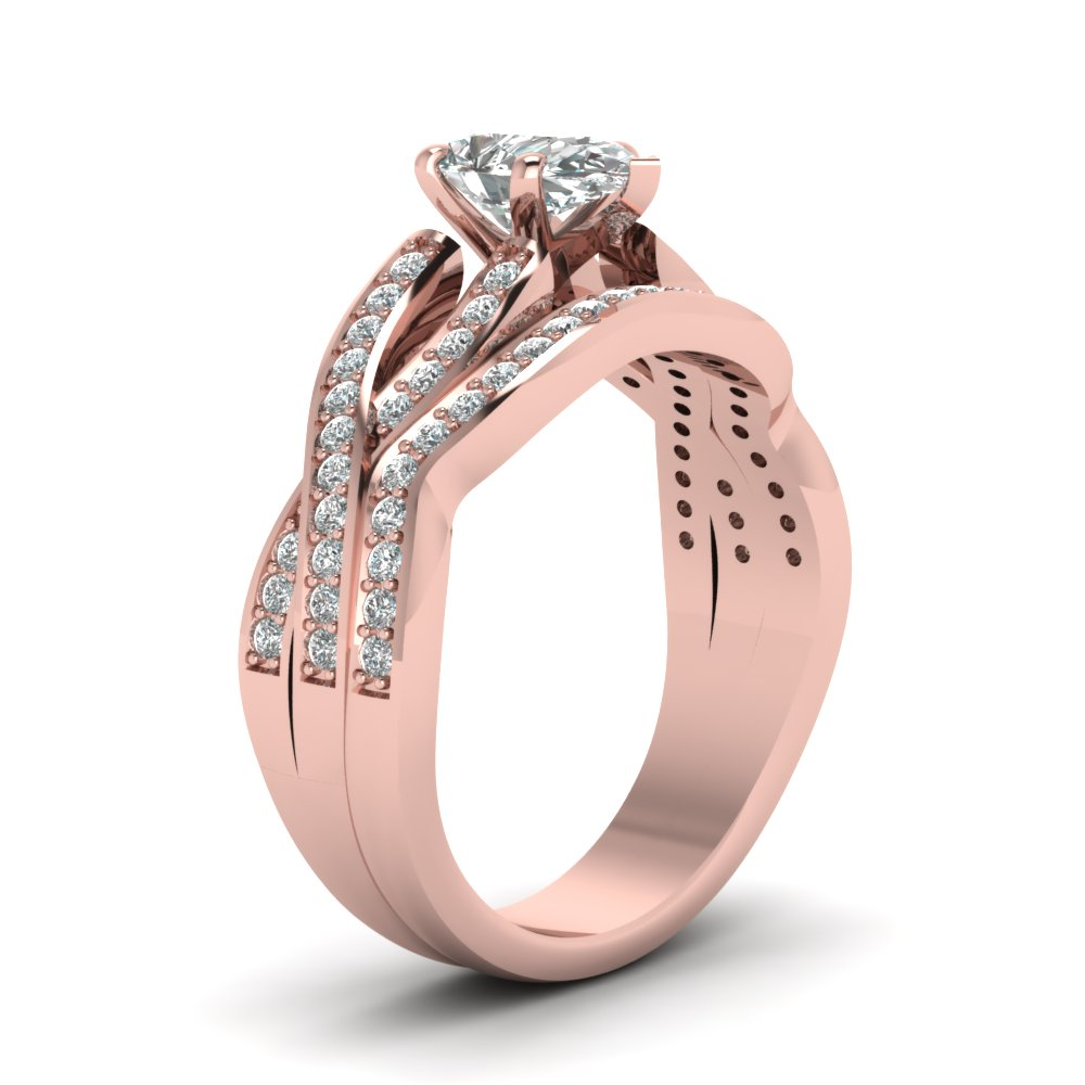 Pear Shaped Entwined Pave Diamond Bridal Set In 18K Rose Gold ...