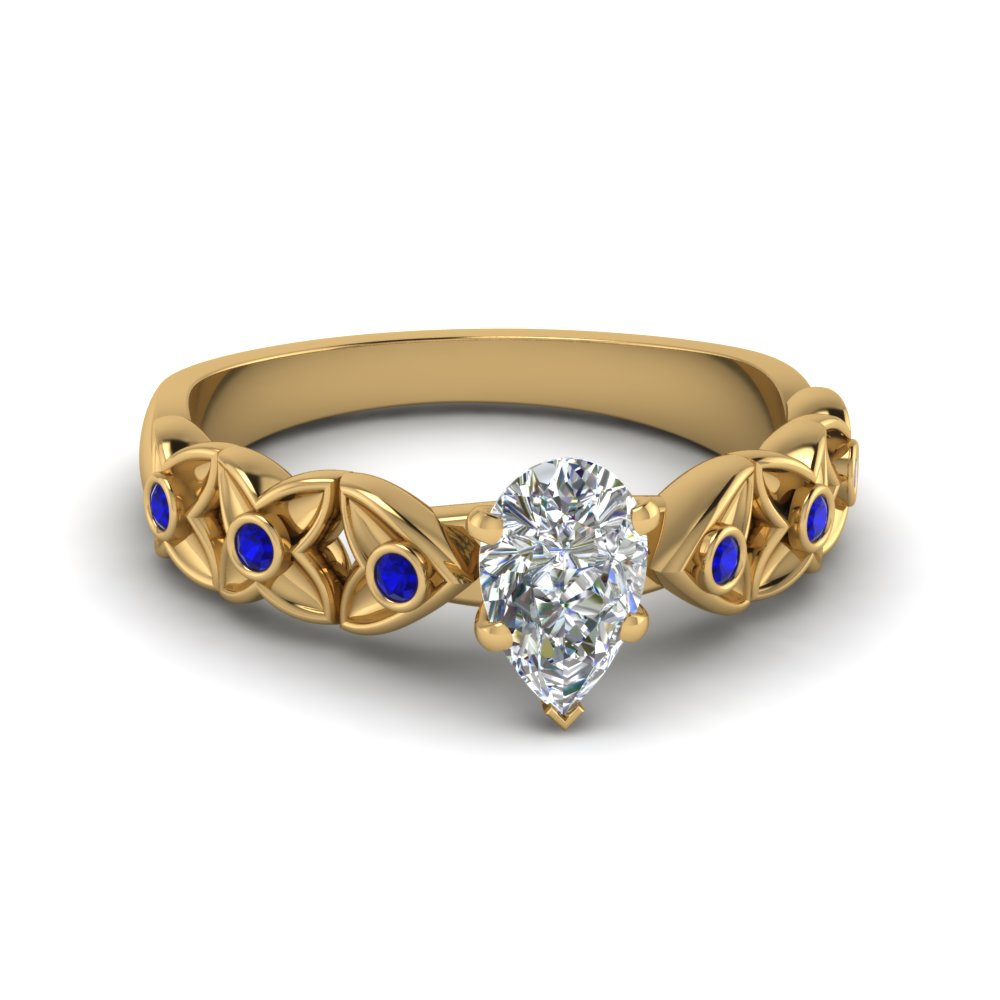 pear shaped floral style accent diamond engagement ring with blue sapphire in 14K yellow gold FD121955PERGSABL NL YG