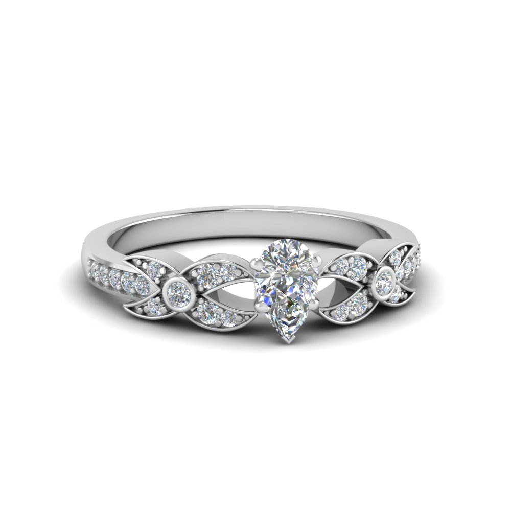 pear shaped flower pave diamond ring in 14K white gold FDENS3322PER NL WG