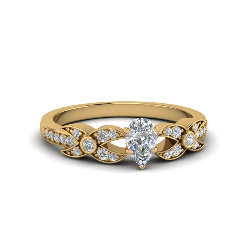 pear shaped flower pave diamond ring in 18K yellow gold FDENS3322PER NL YG