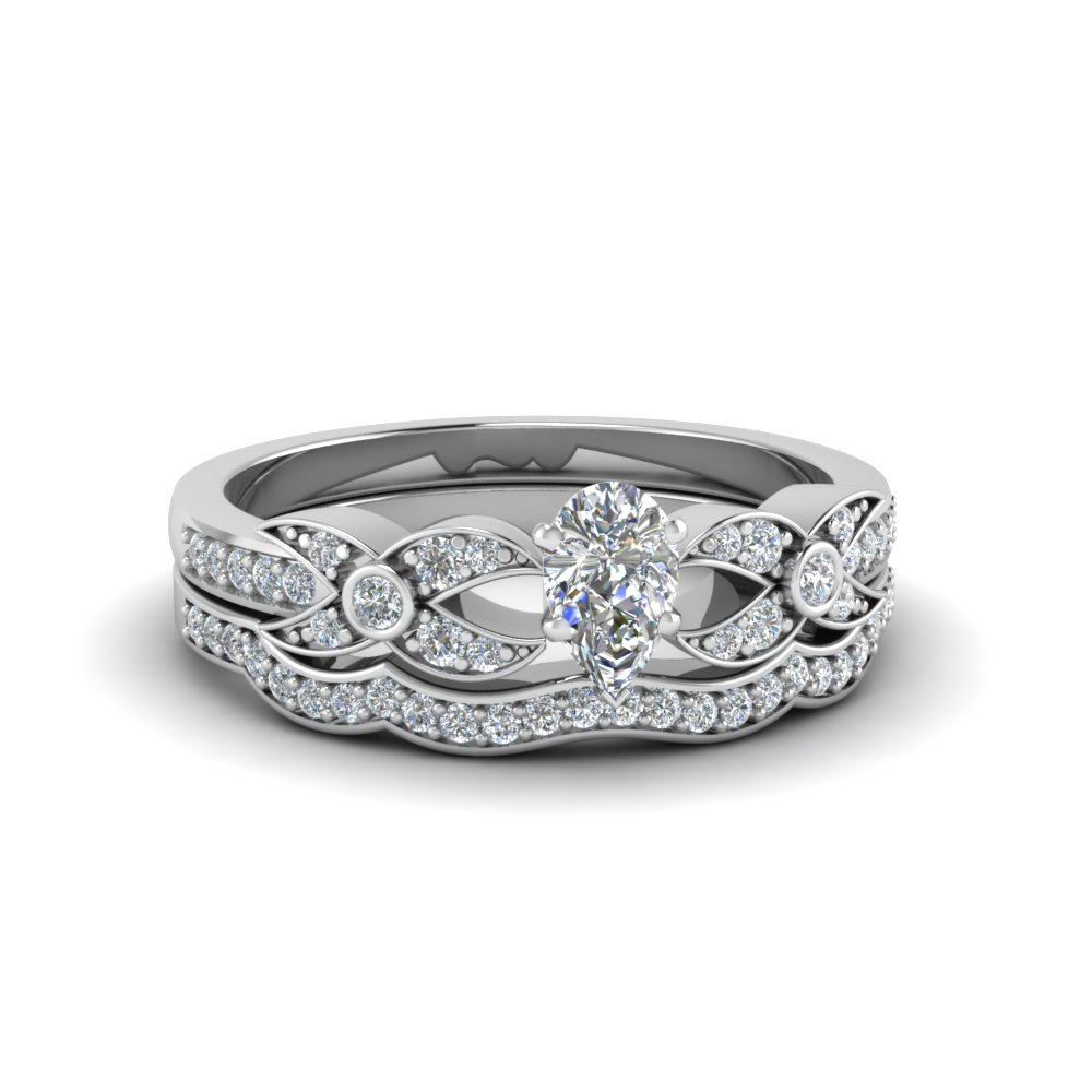 Pear Shaped Flower Pave Diamond Wedding Ring Set In 14K White Gold ...
