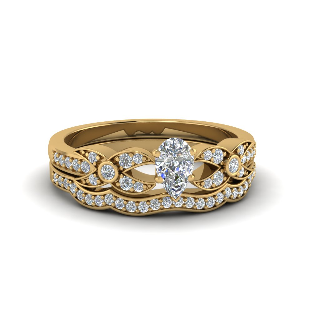 pear shaped flower pave diamond wedding ring set in FDENS3322PE NL YG