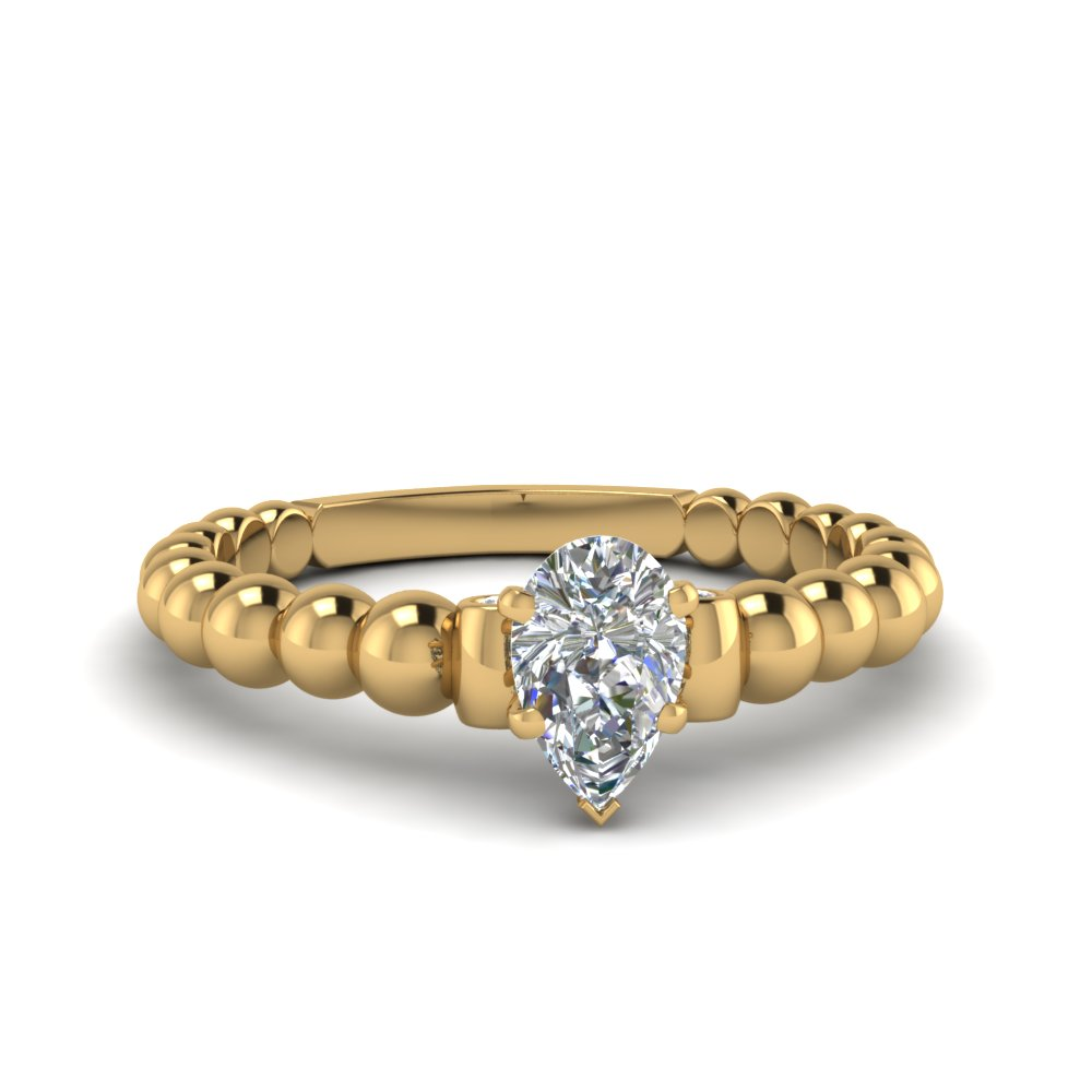 pear shaped bead diamond engagement ring in FDENS2205PER NL YG