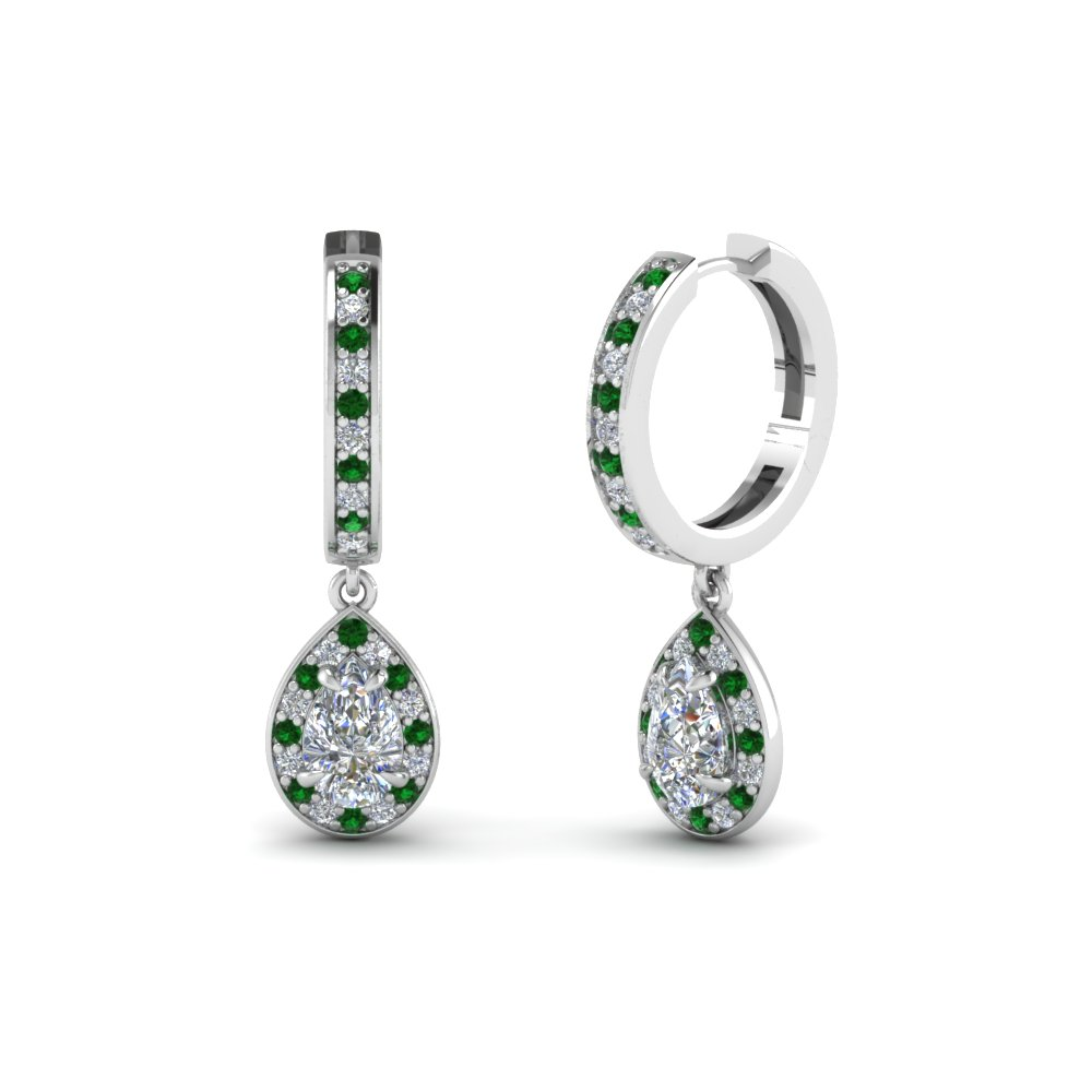 Teardrop Halo Emerald Drop Earring