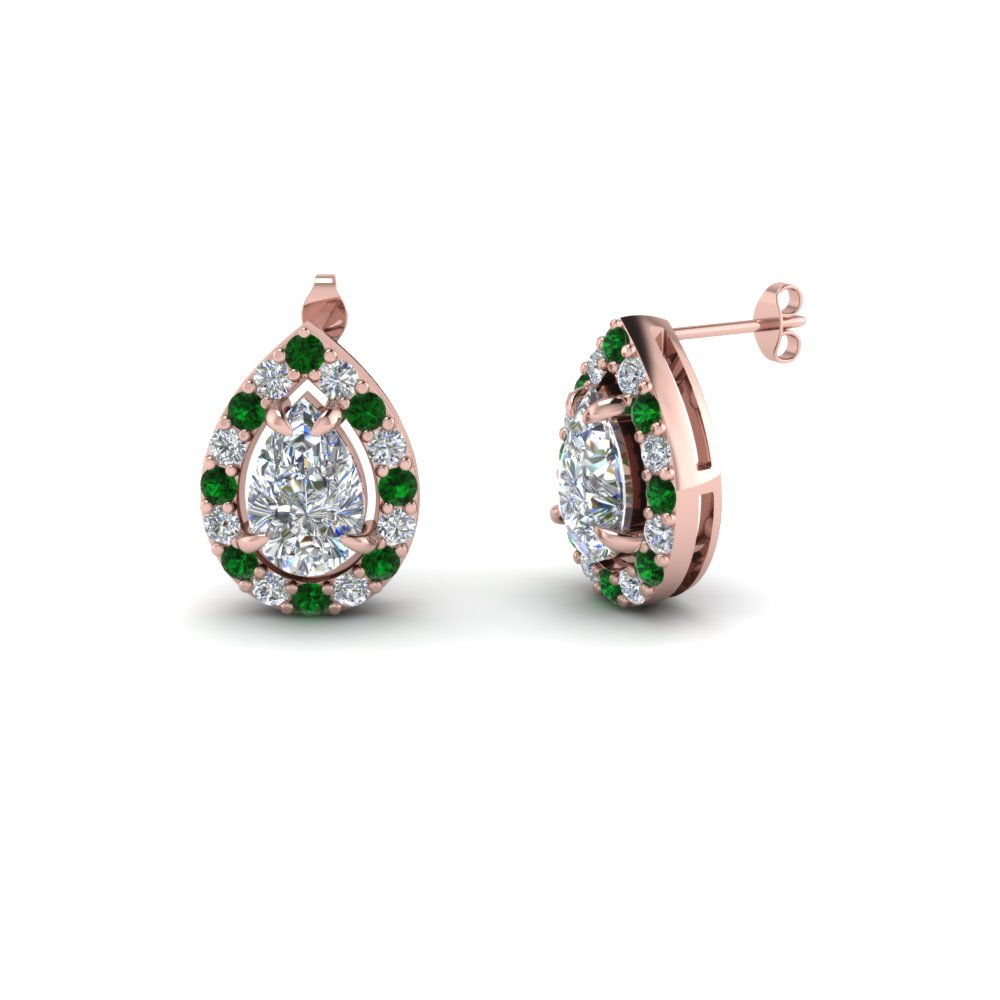 Pear Halo Earrings With Emerald
