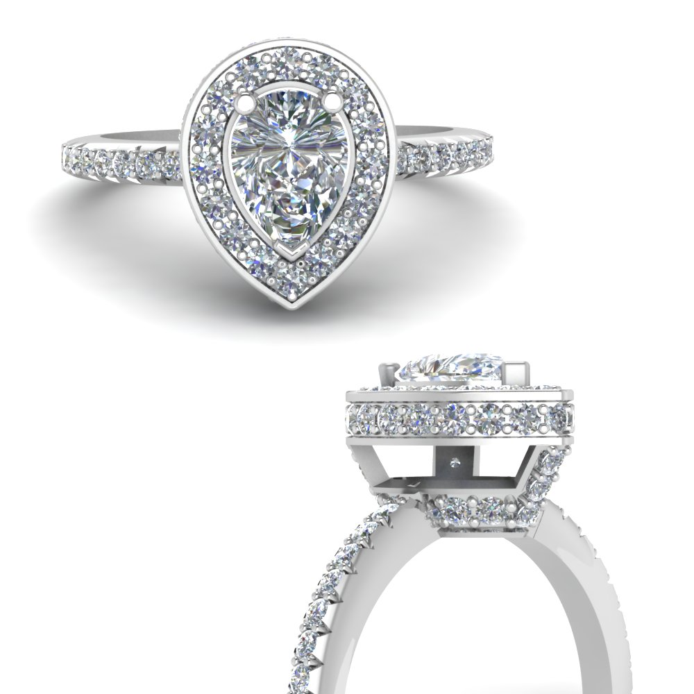 pear shaped halo delicate diamond engagement ring in FDENR7314PERANGLE3 NL WG.jpg