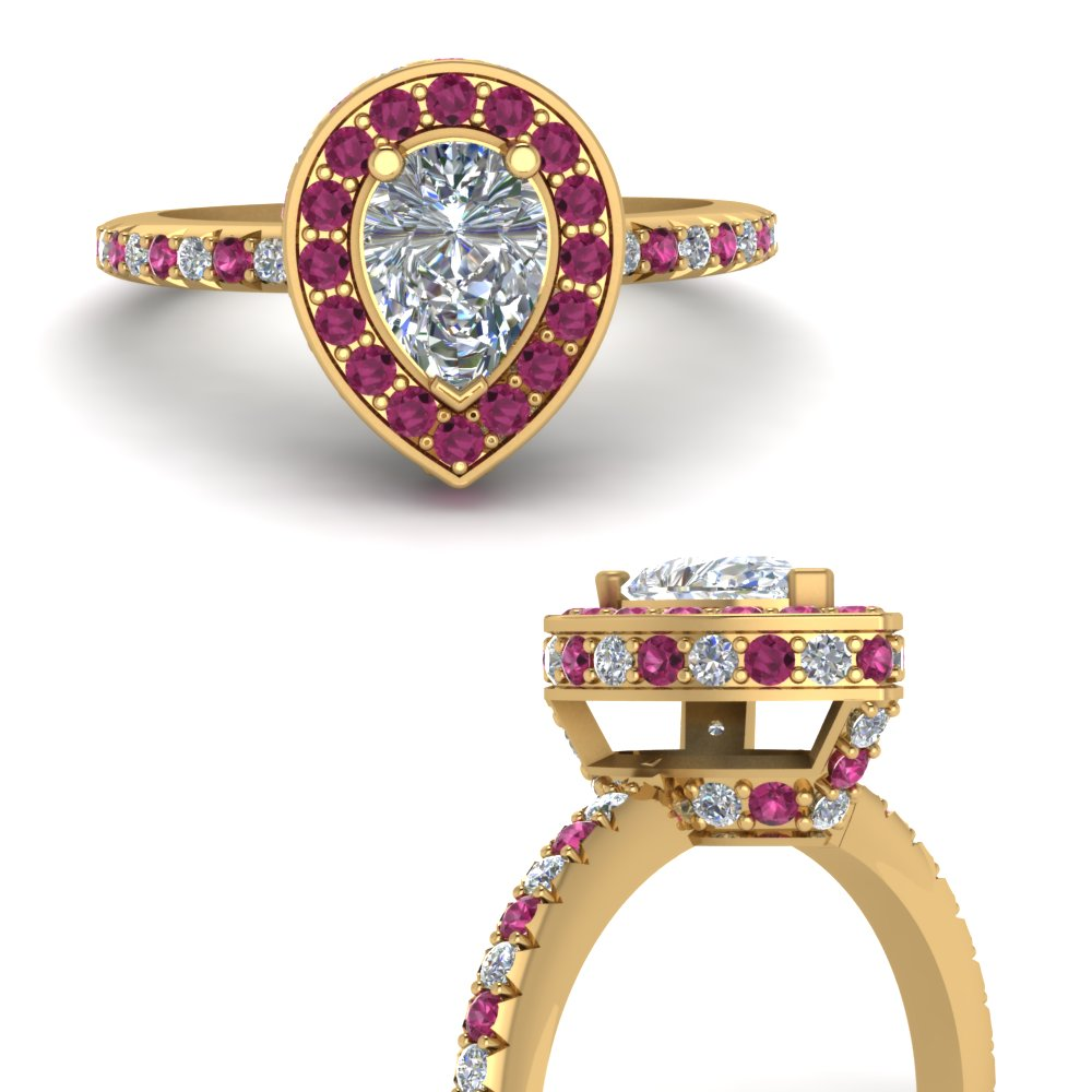 pear shaped halo delicate diamond engagement ring with pink sapphire in FDENR7314PERGSADRPIANGLE3 NL YG.jpg
