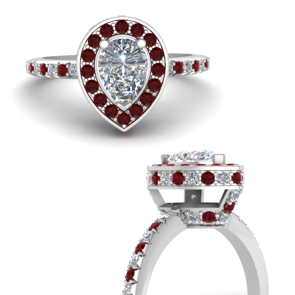 pear shaped halo delicate diamond engagement ring with ruby in FDENR7314PERGRUDRANGLE3 NL WG.jpg
