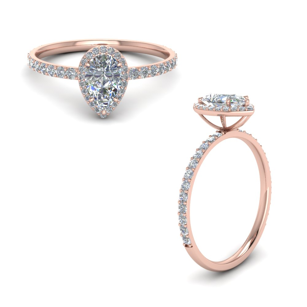 Pear Shaped Halo Diamond Engagement Ring