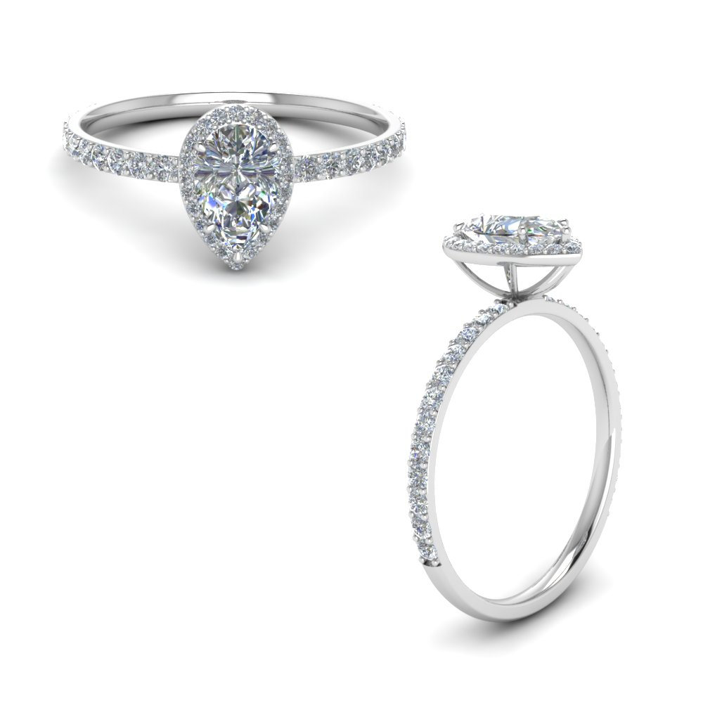 Pear Shaped Halo Enement Ring | Pear Shaped Halo Diamond Engagement Ring In 14k White Gold