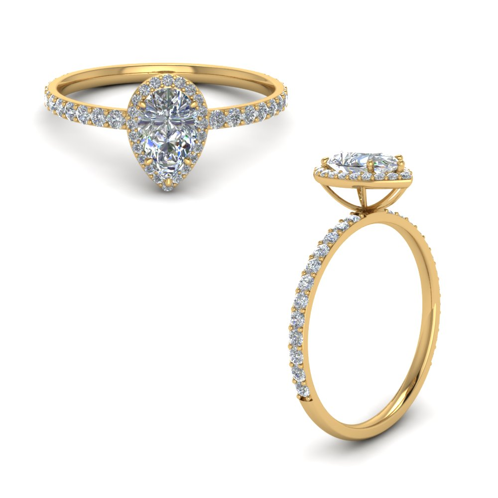 pear shaped halo diamond engagement ring in FD8513PERANGLE1 NL YG