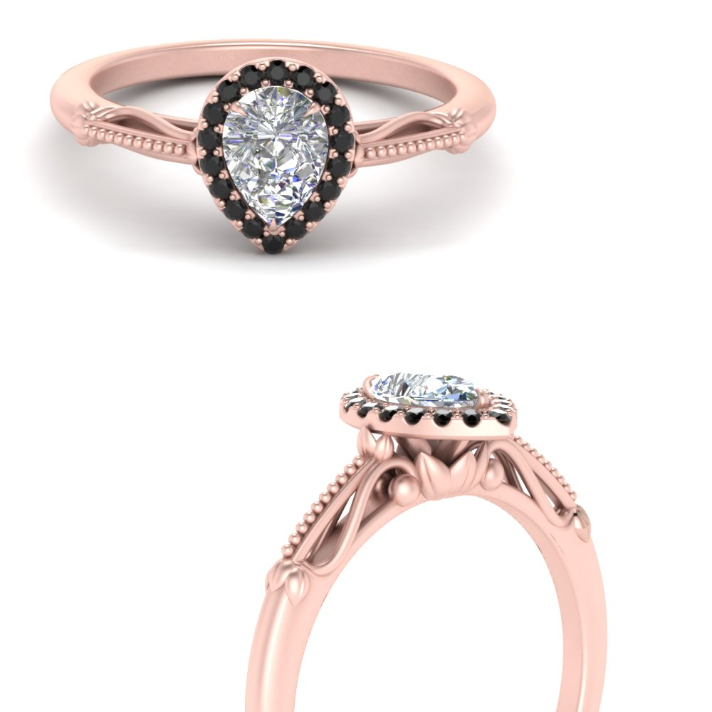 pear shaped halo floral shank black diamond engagement ring in rose gold FD124330PERGBLACKANGLE3 NL RG