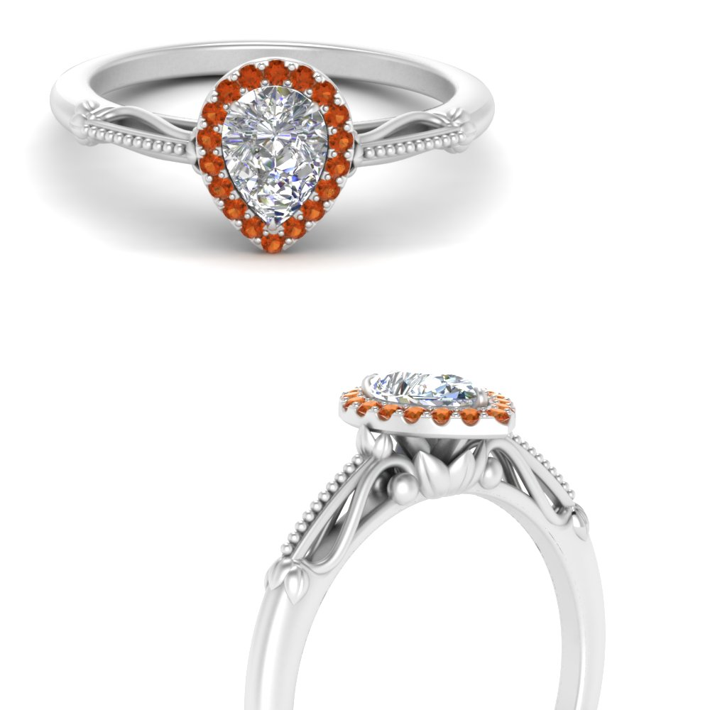 pear shaped halo floral shank orange sapphire engagement ring in white gold FD124330PERGSAORANGLE3 NL WG