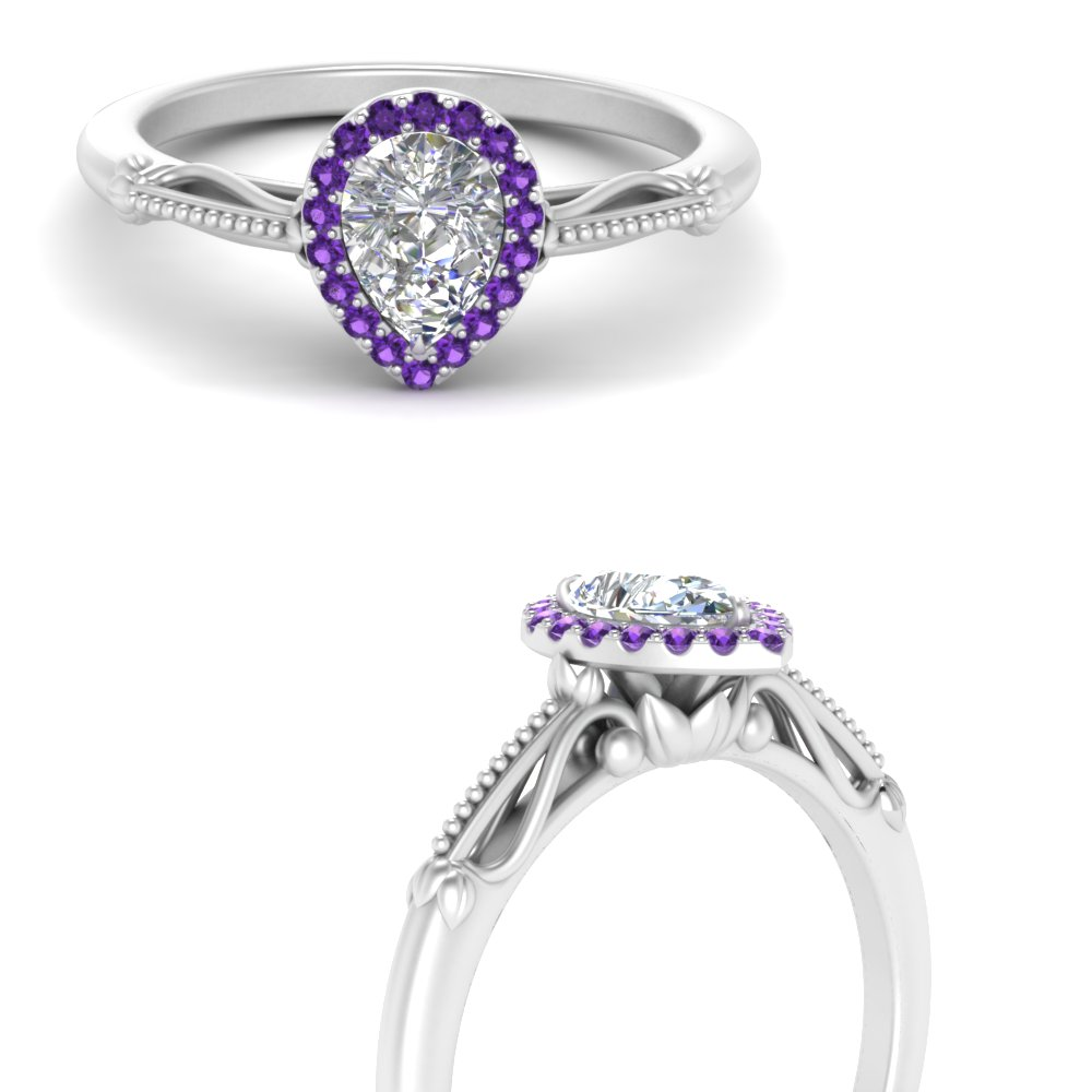 pear shaped halo floral shank purple topaz engagement ring in white gold FD124330PERGVITOANGLE3 NL WG