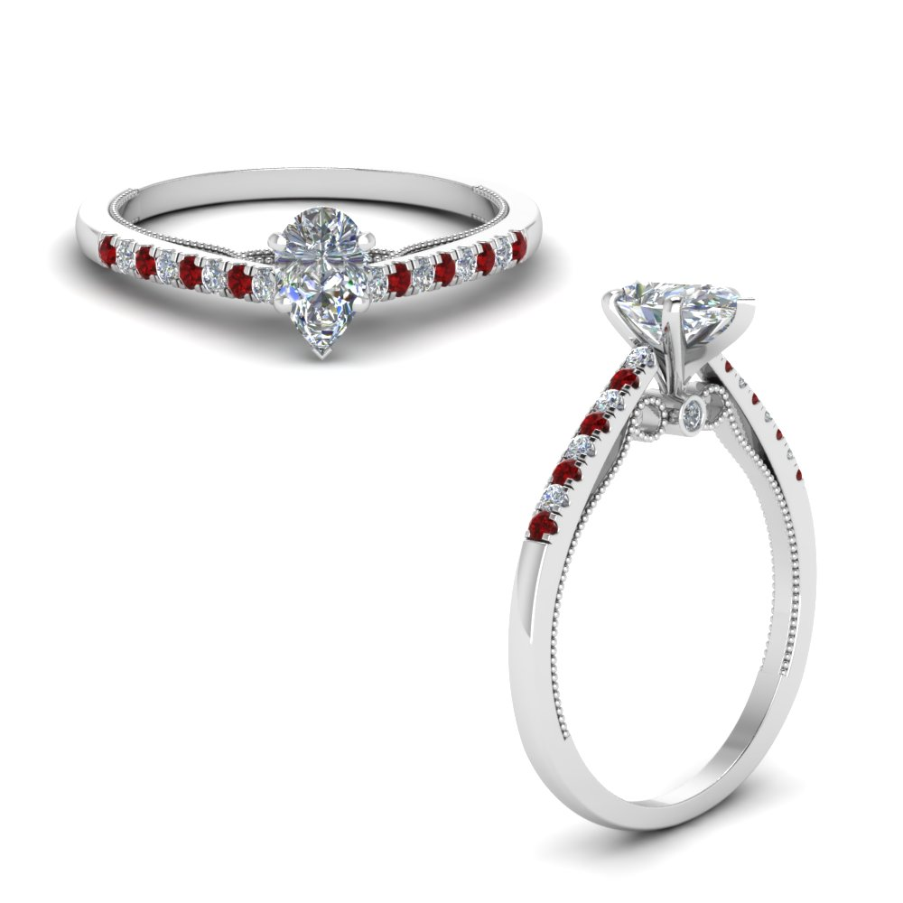 Pear Cut Ruby Milgrain Diamond Rings